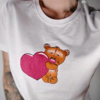 Ručne maľované dámske tričko MACKO - červený