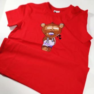Ručne maľované detské červené tričko MACKO - fialový
