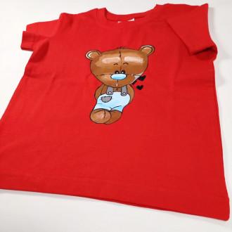 Ručne maľované detské  červené tričko MACKO - modrý