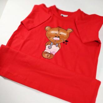 Ručne maľované detské červené tričko MACKO - ružový