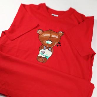 Ručne maľované detské červené tričko MACKO - zelený