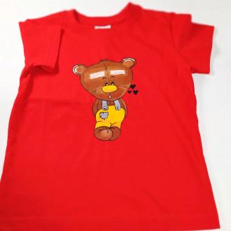 Ručne maľované detské červené tričko MACKO - žltý