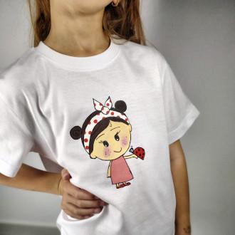 Ručne maľované detské tričko DIEVČATKO a LIENKA