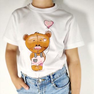 Ručne maľované detské tričko MACKO - ružový