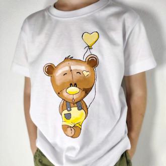 Ručne maľované detské tričko MACKO - žltý