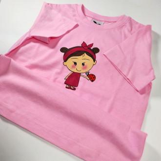 Ručne maľované detské  ružové tričko DIEVČATKO a LIENKA