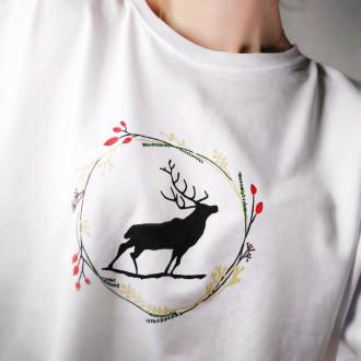 Ručne maľované pánske tričko JELEŇ