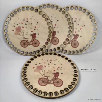 Drevené dno na háčkovanie Ružový bicykel 15 cm