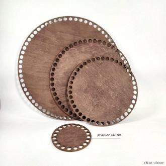 Ideal okrúhle tmavo hnedé drevené dno na háčkovaný košík 10 cm
