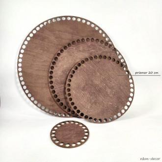 Ideal okrúhle tmavo hnedé drevené dno na háčkovaný košík 20 cm