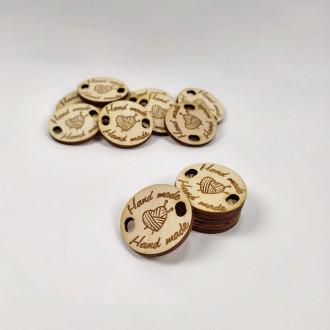 Drevený štítok Handmade okrúhly