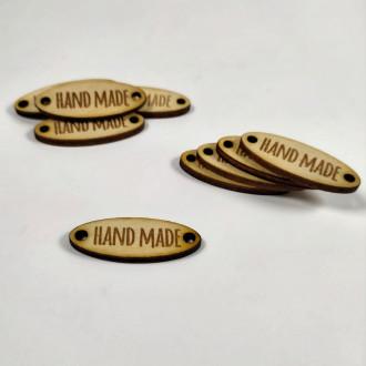 Ideal handmade oválna drevená nášivka 1,5 x 4 cm