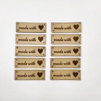 Hand Made with love štítok 3,8 x 1,2 cm - svetlo hnedý