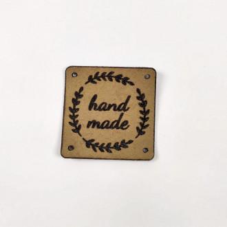 Kožená nášivka štvorec Hand Made - hnedá