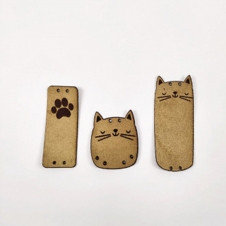 Detské kožené nášivky mačička 3 kusy