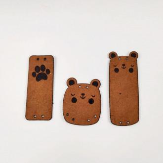 Detské kožené nášivky medvedík 3 kusy