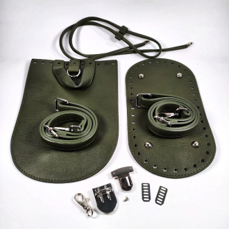 Ideal set na háčkovaný batoh hnedo zelený