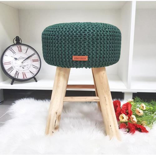 Taburetka stolček - tmavozelená farba